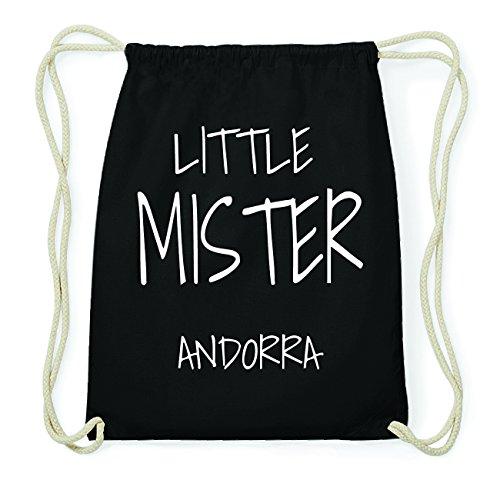 JOllify ANDORRA Hipster Turnbeutel Tasche Rucksack aus Baumwolle - Farbe: schwarz Design: Little Mister