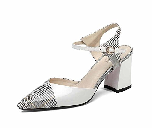 GLTER Women Ankle Strap Pumps Striped Plaid Pattern High Heel Handmade Acrylic Shoes Printed Cowhide Sandal (Color : White, Size : 37) (High Heel Acrylic)