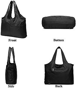 ZORESS Women Fashion Large Tote Shoulder Handbag Waterproof Multi function Nylon Travel Messenger Bags (Black)