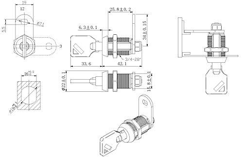 Tubular Cam Lock with Chrome Finish, Keyed Alike Removable Key (1'', Pack of 25) by Products Quad (Image #2)