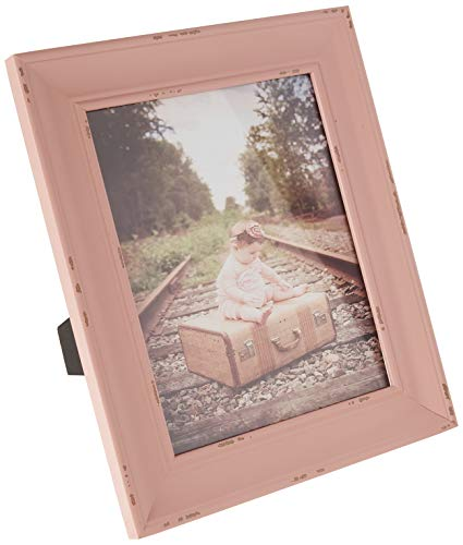 (DII Z02253 Rustic Farmhouse Distressed Wooden Picture Frame for Wall Hanging or Desk Use, 8x10, Blush)