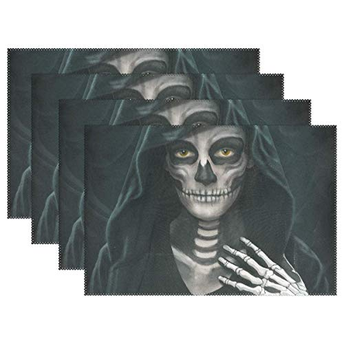 POGResdx Halloween Makeup Skeleton Placemat - 12x18in - Washable Heat Crease Resistant Printed Place Mat for Kitchen Dinner Table 4 -