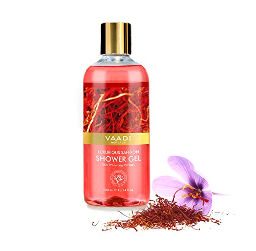 Shower Gel - Sulfate-Free - Herbal Body Wash both for Men and Women - 300 ml (10.14 fl oz) - Vaadi Herbals (Luxurious Saffron) (1 Bottle)