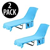 KOVOT 2-in-1 Lounge Chair Towel Cover & Carrier (Blue) - Measures 84'L x 26'W (2 Pack)