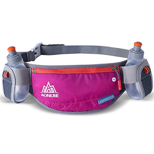 MqbY AONIJIE Running Hydration Belt Bottle Holder Belt Reflective Running Water Belt Fanny Pack Waist Packs with Two Water Bottle