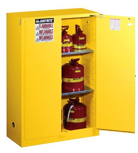 (Justrite 894520 Sure-Grip EX Flammable Safety Cabinet, 2 Door, Self Closing, Dimensions (H x W x D): 44 x 43 x 18 inch (1651 x 1092 x 457 mm); 45 gal. (170L))