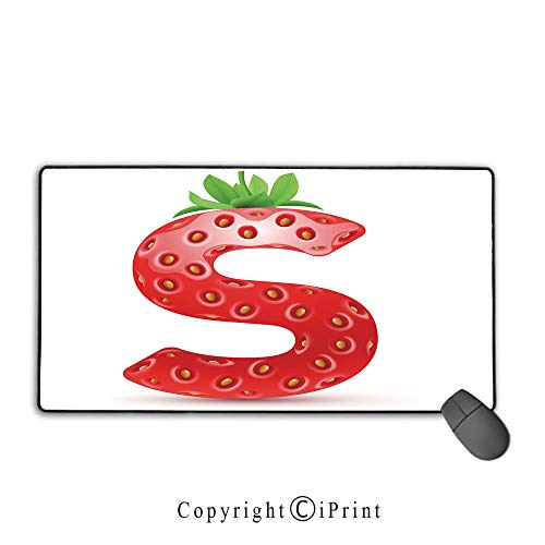 - Extended Mousepad with Durable Stitched Edges,Letter S,Capital S Strawberry Seeds and Green Leaves Organic Plant Realistic,Vermilion Green Orange, Suitable for Offices and Homes,15.8