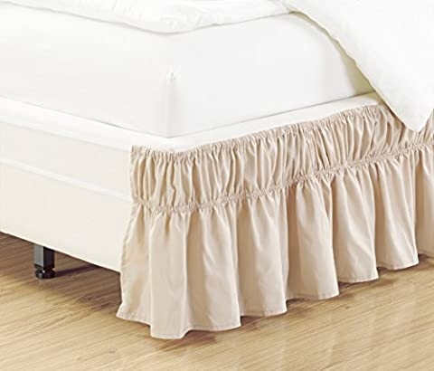 Wrap Around Dark IVORY (BEIGE) Ruffled Elastic Solid Bed Skirt Fits both TWIN and FULL size bedding High Thread Count 14 inch fall Microfiber Dust Ruffle, Silky Soft & Wrinkle Free.