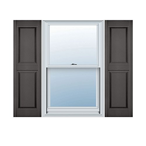(Mid-America Williamsburg Raised Panel Vinyl Standard Shutter - 1 Pair 14.75 x 67 018 Tuxedo Gray)