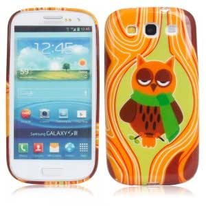TPU Glitter Protective Case with Owl Pattern for Samsung i9300 Brown
