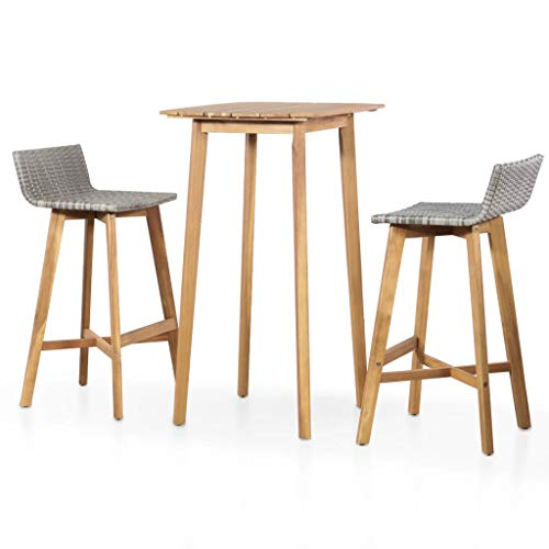 Festnight 3 Piece Bar Table Set Counter Height Dining Table with 2 Stool Acacia Wood Pub Set for Breakfast Bistro Kitchen Dining Room Indoor Outdoor Furniture