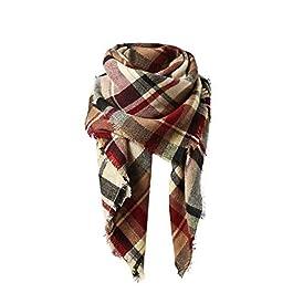 Women's Fall Winter Scarf Classic Tassel Plaid Scarf Warm Soft Chunky Large Blanket Wrap Shawl