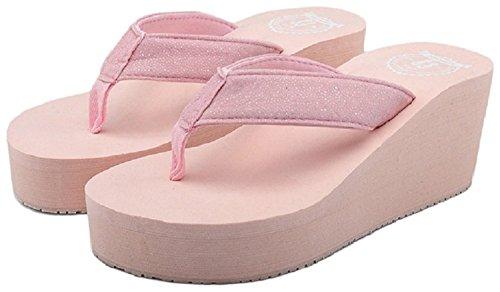 Flip Flops Hanxue Pink Wedge Sequins Womens ZCqwA
