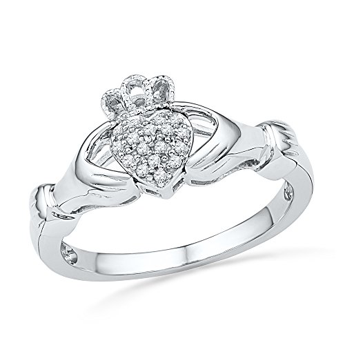 10kt White Gold Womens Round Diamond Claddagh Hands & Heart Cluster Ring 1/20 Cttw (I2-I3 clarity; J-K color)