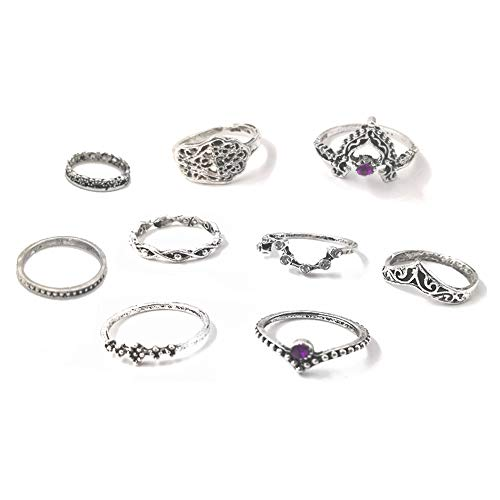 (SL SweetLove 11 Pcs Vintage Women Mid Ring Set Unique Big Dipper Shape Ring Joint Knuckle Nail Mid Ring Set)