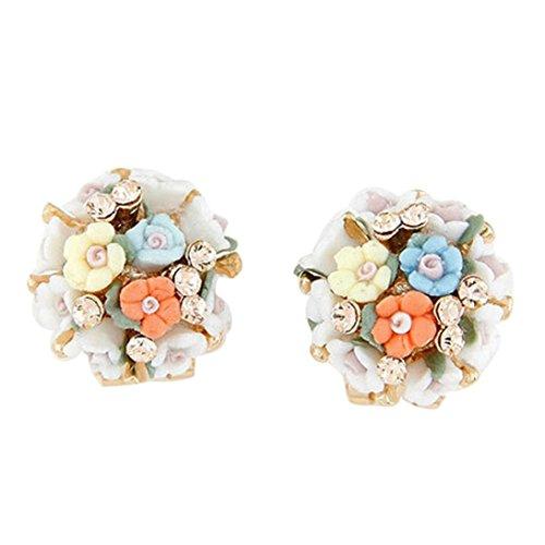 (Clearance Deal! Hot Sale! Earring, Fitfulvan 2018 Women Flash Diamond Earrings Temperament Flower Ceramic Flower Mother's Day Gifts Earrings Jewelry (Multicolor))