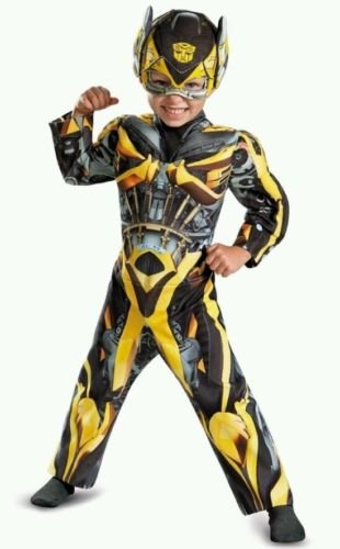 Transformers Bumblee Muscle Deluxe Costume Child with Shield (2t) (Toddler Bumblebee Transformer Costume)