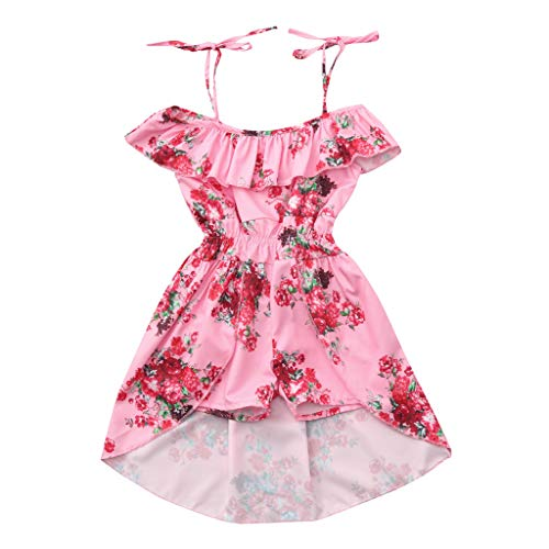 Infant Summer Dresses for Girls,Toddler Baby Girls Off Shoulder Floral Print Ruffles Pantskirt Outfits Sets,Girls' Costumes,Multicolor,2-3T Pink by Dsood (Image #6)