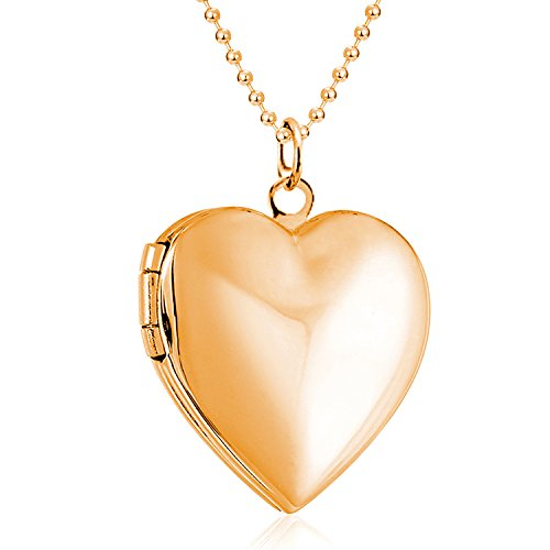 Polished Love Heart Locket Pendant Necklace Hold Pictures Locket for Women Kids Lockets Rose Gold Plated