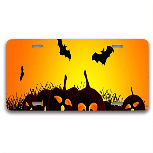 luckmx Customized Car License Plate Frame Pretty Cute Auto License Plate Frame (Halloween Hd Wallpapers)