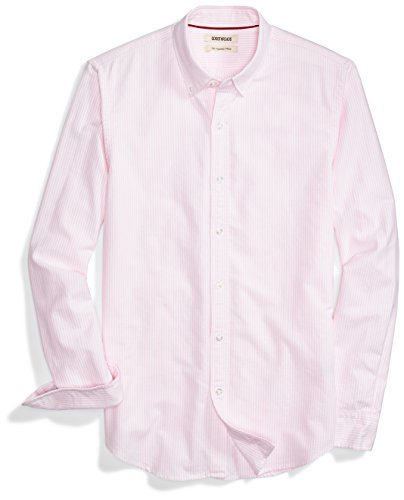 Goodthreads Men's Slim-Fit Long-Sleeve Stripe Oxford Shirt, Pink/White, - Stripe Shirt Pink