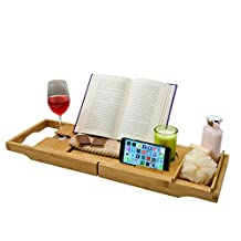 Luxury Bamboo Bathtub Caddy Tray with Book / Tablet Holder and Splash Guard. Wine Glass Holder, Removable Side Tray, Non-Slip Rubber Grips, Extendable.