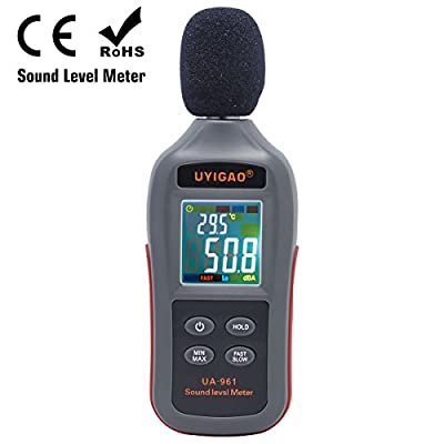 Digital Noise Decibel Meter, UYIGAO Classic Portable Sound Level Meter Measuring 35dBA~135dBA, High Accuracy Max/Min/Hold Mode, with Large LCD Screen Display