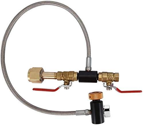 Adaptateur de recharge pour bouteille de CO2 G1 / 2, kit de connecteur de bouteille en acier inoxydable, accessoires pour fabricant de soda, 24 pouces avec jauge