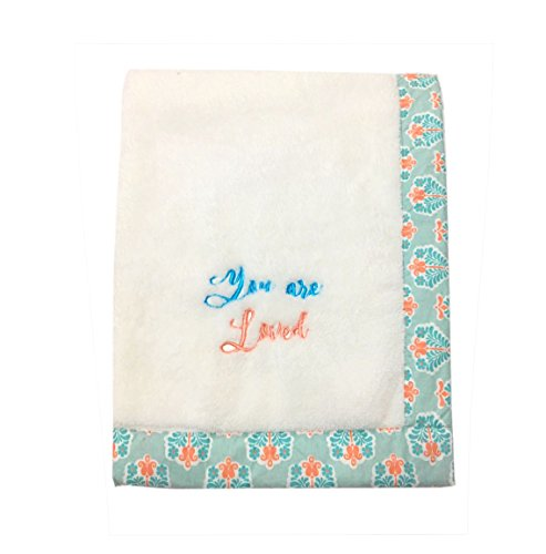 (Bacati Sophia Paisley Floret Embroidered Plush Blanket, White)