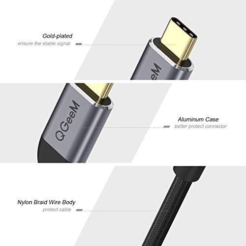 QGeeM USB C to HDMI Adapter 4K Cable, USB Type-C to HDMI Adapter [Thunderbolt 3 Compatible] Compatible with MacBook Pro 2018/2017, Samsung Galaxy S9/S8, Surface Book 2, Dell XPS 13/15, Pixelbook More