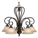 Golden Lighting 8606-D5 RBZ Homestead Five Light Nook Chandelier, Rubbed Bronze Finish Review
