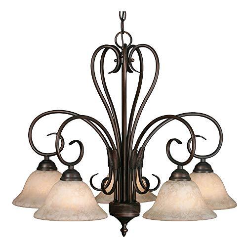 Golden Lighting 8606-D5 RBZ Homestead Five Light Nook Chandelier, Rubbed Bronze Finish