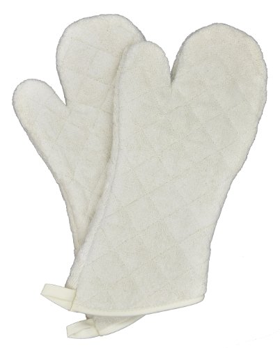 Oven Chef Mitt (Nouvelle Legende Cotton Quilted Terry Oven Mitts | Heat Resistant Long Lasting | Commercial Grade Machine Washable | 17 Inches Set of 2)