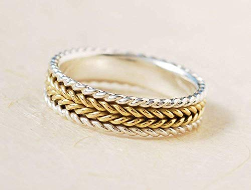 - Meaningful Spiritual Handmade Mixed Metals14k Yellow Gold And Sterling Silver Eternity Interwoven Pattern Texture Wedding Ring