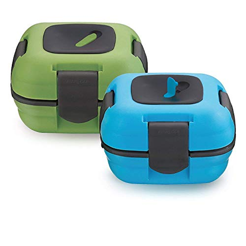 Foogo Food Jar - Lunch Box ~ Pinnacle Insulated Leak Proof Lunch Box for Adults and Kids - Thermal Lunch Container With NEW Heat Release Valve ~Set of 2~ Blue/Green