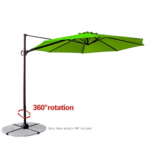(FLAME&SHADE 10' Cantilever Offset Hanging Market Style Umbrella with Tilt for Large Outdoor Patio Table Balcony Deck or Terrace, Apple Green)