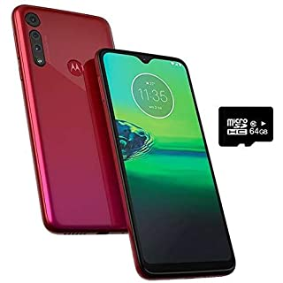 "Motorola Moto G8 Play (32GB, 2GB RAM) 6.2"" HD+ Display, Dual SIM GSM Unlocked (AT&T/T-Mobile/Metro) - XT2015-2 - International Version (Raspberry, 32GB + 64GB SD + Case Bundle)"