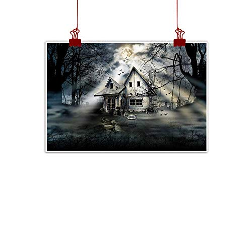 (J Chief Sky Simple Life Minimalist Halloween,Haunted House with Dark Horror Atmosphere Cloudy Mysterious Frightening,Grey White Black 20