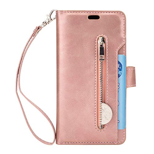 5.8 inch S8 Case Wallet with Coin Purse for Women, Shock Proof Leather Protective Shell with Viewing Stand Hand Strap and Card Slots Flip Cover for Samsung Galaxy S8 Phone ()