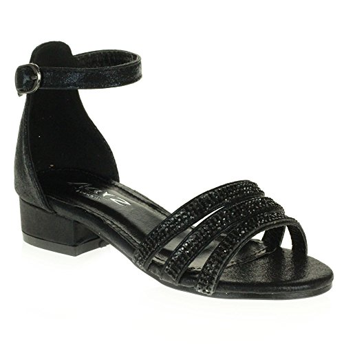 AARZ LONDON Mädchen Kinder Sparkly Diamant Abend Party Komfort Blockabsatz Sandalen Schuhe Größe Schwarz