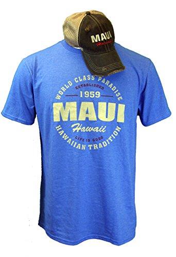 Combo Set Mens Wedge (Maui Clothing Hawaii T-Shirt & Hat Combo Set (Large))