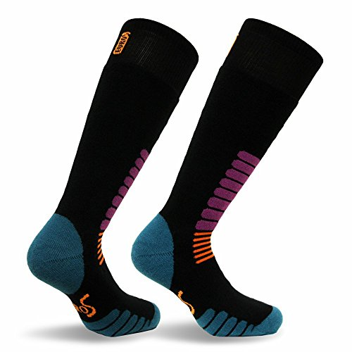 Eurosocks Micro-Supreme Over The Calf Ski Zone Socks,Black, Large