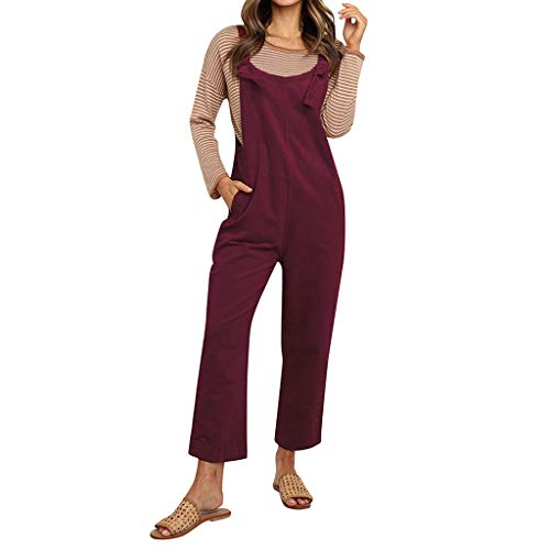 SMALLE_Clothing Women's Jumpsuit,SMALLE◕‿◕ Striped Sleeveless Wide Leg Loose Overall with Pockets-Casual Loose Suspender Wine