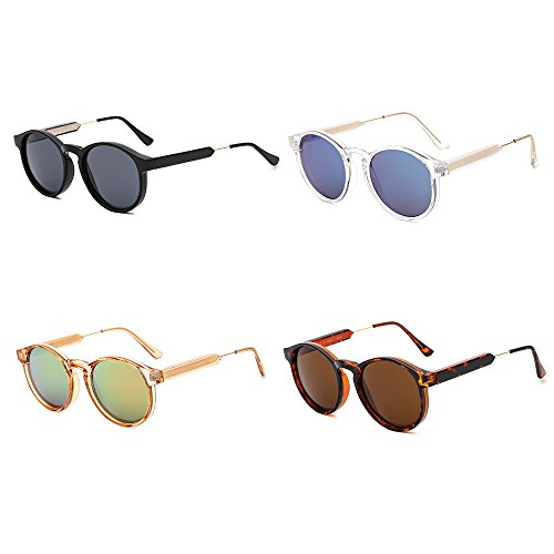 SUERTREE Vintage 80s Sunglasses Women Men Fashion Small Round Sun Glasses Classic Shades Cute Eyewear Retro Eyeglasses Half Metal Arms Rimmed UV400 Protection for Travel Champagne Frame Pink Mirror