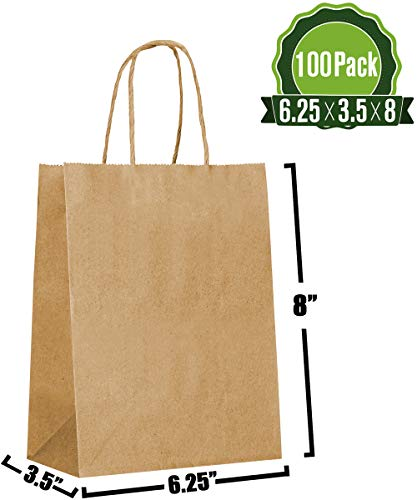 Brown Kraft Paper Gift Bags Bulk with Handles 6.25x3.5x8 [100 Bags]. Ideal for Shopping, Packaging, Retail, Party, Craft, Gifts, Wedding, Recycled, Business, Goody and Merchandise Bag