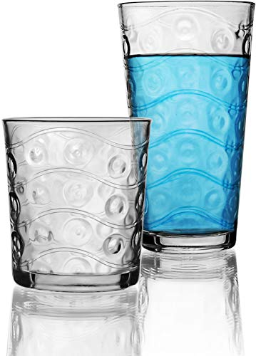 Plastic Stein Oz 14 (Circleware 40179 Cosmo 16-Piece Set, Drinking Glasses & Whiskey Cups Glassware for Water, Beer, Juice, Ice Tea, Beverage 8-15.7 oz & 8-12.5 oz 16pc)