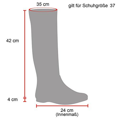Stiefelparadies Damen Reiterstiefel Leder-Optik Bikerstiefel Block Absatz Stiefel Schnallen Schuhe Zipper Profil Metallic Damenschuhe Flandell Schwarz Gesteppt Schnalle