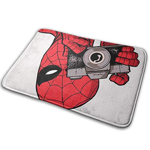 Duwamesva Doormat Soft Carpet Entrance Mat Stylish Spiderman Taking Pictures Design for Patio, Front Door, Bathroom, Balcony (Spiderman Rugs And Carpet)