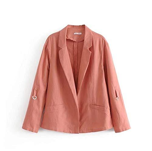 Pink Blazer De nbsp;fino Mujer Y nbsp; Blazer Chaquetas Enrolladas Mangas Mujeres Lino Suelta Wjmm nbsp; X4q61wXE