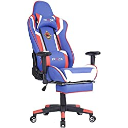 Ficmax High-Back PC Computer Desk Chair Ergonomic Gaming Chair Racing Style Home Office Chair Large Size Gaming Racing Chair with Lumbar Massage Support and Headrest Pillow (Bule/Red)
